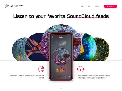 Planets - Landing Page product ios iphone feed playlist site identity logo branding landing website web app