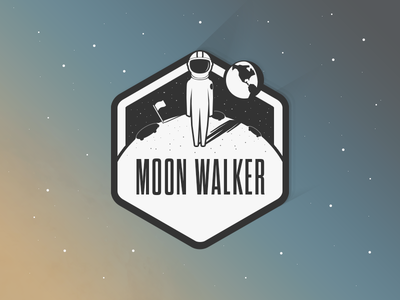 The Moonwalker sticker badge app bw illustration icon hexagon planet satellite stars space suit
