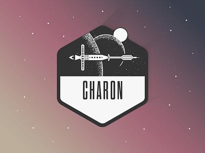 Charon sticker spaceship space stars satellite planet hexagon pixelart icon illustration bw badge