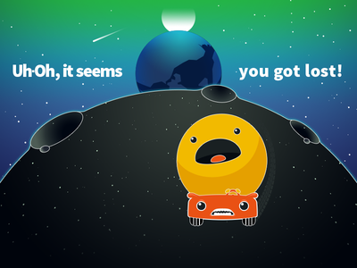 404 - Uh-Oh, it seems you got lost! not found sun planet earth moon space vector page web illustration 404 error
