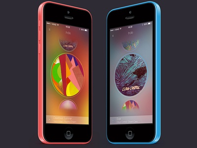 Planets - a music app - showcase ui swipe playlist music mobile iphone interface gif design blur app minimal