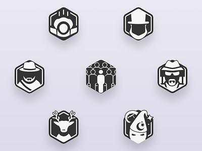 Travel Badges stickers reward pixelart illustration community icon game hexagon bw badge gamification