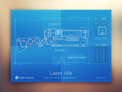 Retro weapons - Laser rifle fallout specs stats section grid grip energy guns technical scifi retro blueprint