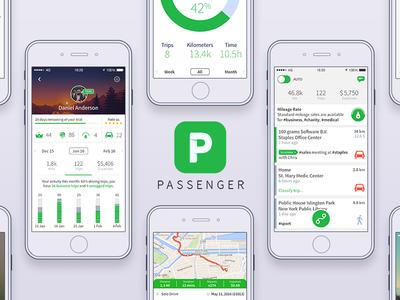 Passenger app - Mileage tracker app detail map project icon stats profile timeline data graph grid bars