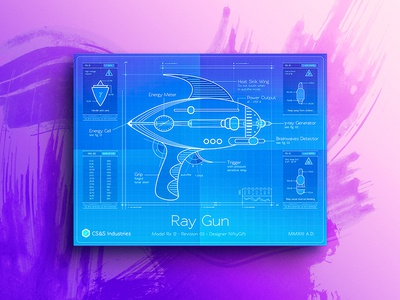 Retro weapons - Ray Gun technical stats specs section scifi retro guns grip grid energy blueprint weapon