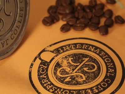 International Coffee Conspiracy Logo    Stamp