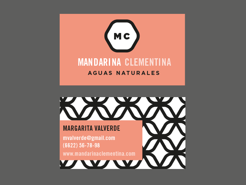 Mandarina Clementina -Flavored water swiss vector trade gothic monogram branding logo black and white abstract pattern geometric business card