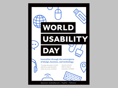 2015 World Usability Day paypal technology ui ux blue pattern black and white contrast icons flat vector poster