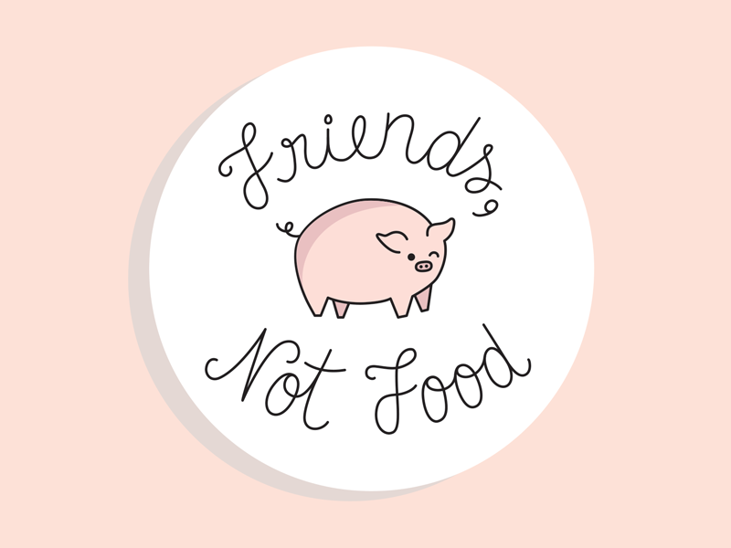 Animals are friends, not food! stickermule emblem badge illustration button frog rebound button food script cursive pin vegan