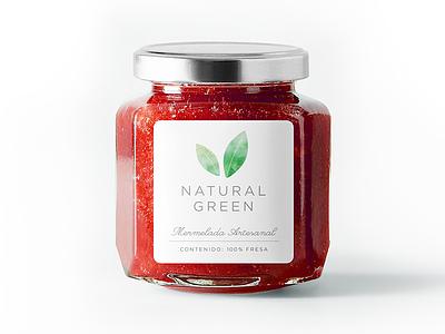 Natural Green packaging pastel illustration jam bottle label identity branding logo packaging