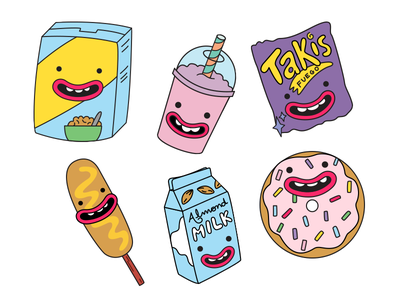 Anthropomorphic Food - Part 2 donut healthy vegetables candy food illustration drawing vector cute pastels