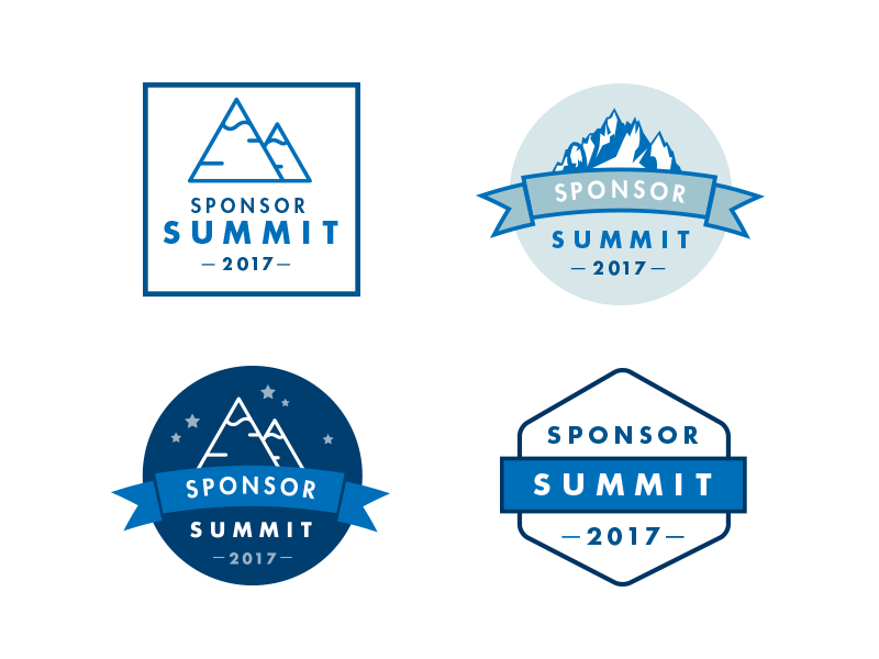 Make-A-Wish conference logo options stars blue geometric ribbon mountains badge emblem vector logo kids children