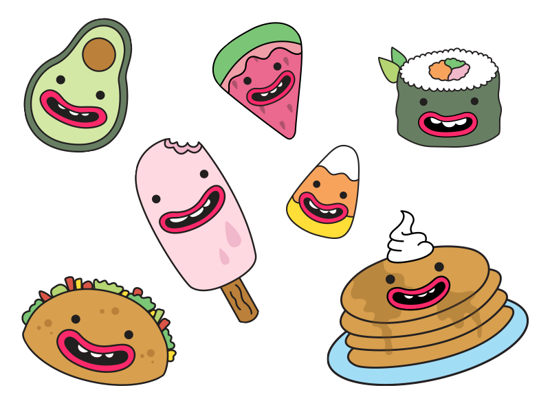 Anthropomorphic Food - Part 3 pattern cartoon pink pastels breakfast icon logo food vector drawing illustration