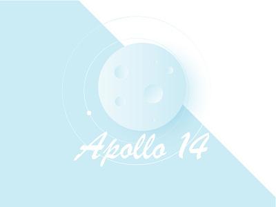 Apollo 14 space moon minimal illustration vector minimalism