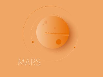 Mars planet space mars minimal illustration vector minimalism