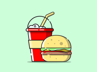 Fast food.Milkshake and hamburger.