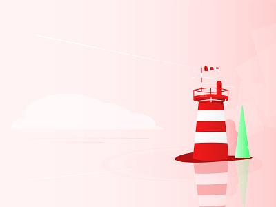 Small lighthouse minimal landscape sea coast lighthouse composition vector illustration