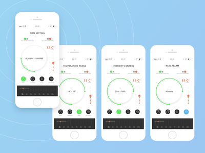 Smart greenhouse app climate control web greenhouse smart smartphone mobile design app ui