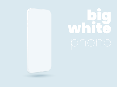 Big Whote phone neumorphism phone smartphone gadget white minimal vector mobile illustration minimalism