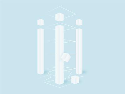 Pillars column post pillar cube abstract white minimal minimalism illustration vector