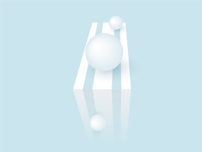 Falling down white spheres. Simple forms in 3d perspectiv minimalism geometry futuristic simple structure clean figure minimal blue background template empty element geometric perspective grid vector object shape 3d abstract sphere