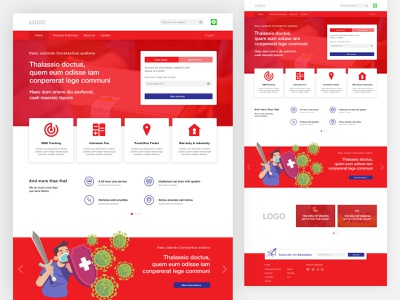 Landing page for a Post Office redesign concept website artwork delivery box letter redesign red post office post adobe xd webdesign design
