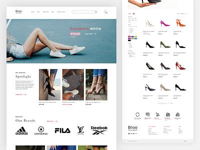 Online Shoe Store Design flat heels sneaker ecommerce shop store shoes feet adobe xd ui website webdesign artwork design