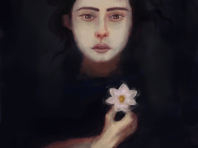 Water Lily night death art graphic illustration painting in water lake dark water women flower water lily