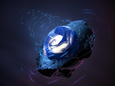 Stone Forms concept abstract floating render energy stone volcanic crystal sci-fi 3d