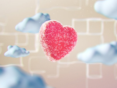 Happy St Valentines Day! 3d cloud candy sweet sugar bean jelly heart shape valentine motion graphics
