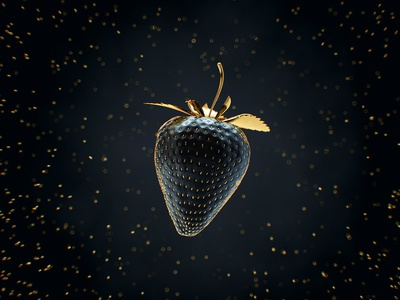 Wanna some sweety? 😏 seed abstract 3d luxury black gold sweet strawberry berry c4d octane
