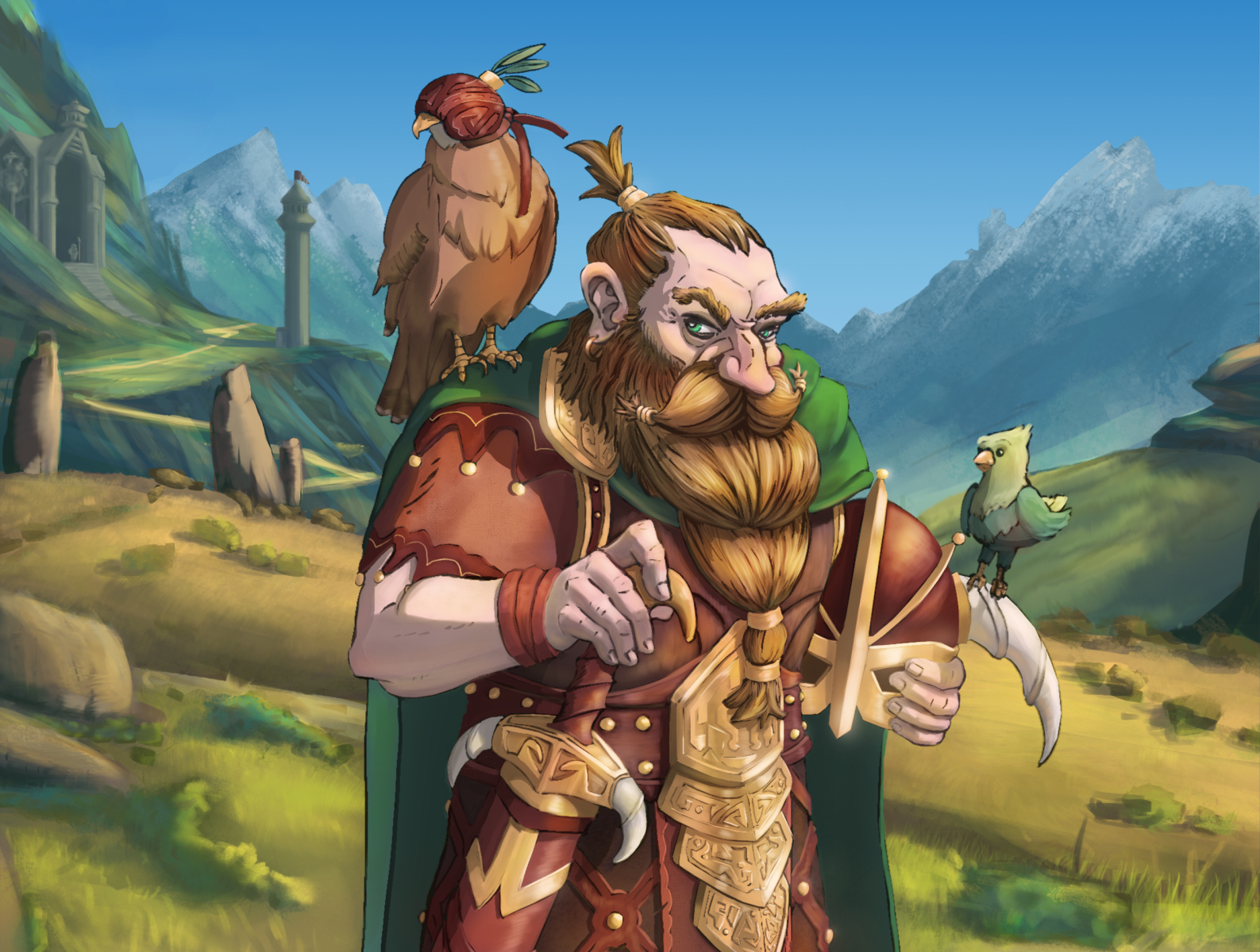 Letting the Birds and Beard Out enviroment character design character drawing digital drawing concept art art photoshop illustration birds dwarf