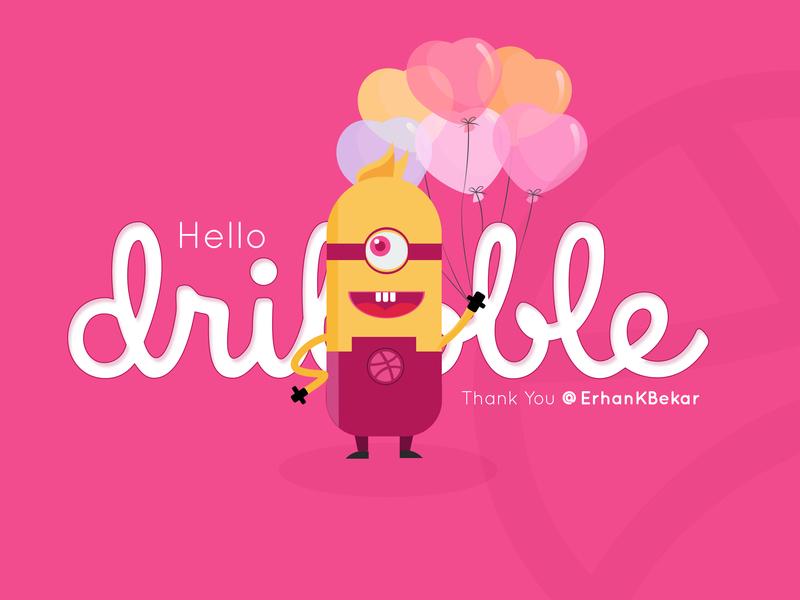 Hello Dribbble web animation branding vector ui design trends app design typography app design love baloons art stunning minions creative thanksgiving invitation introduction illustration