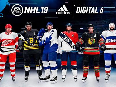 Digital Six creative direction original six ea sports adidas sports jerseys hockey uniforms product design art direction graphic design