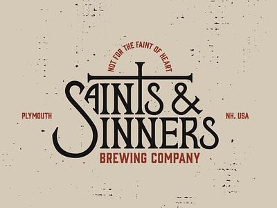 Saints & Sinners Brewing Company new hampshire restaurant logo company branding brewery sinnerschrader saints wordmark creative direction logo branding brand identity graphic design