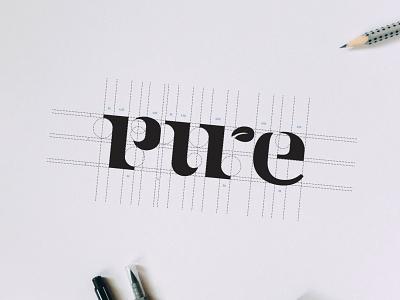 Pure Botanical Cafe leaf pure process grid sketchbook vector sketch creative direction logo branding brand identity graphic design