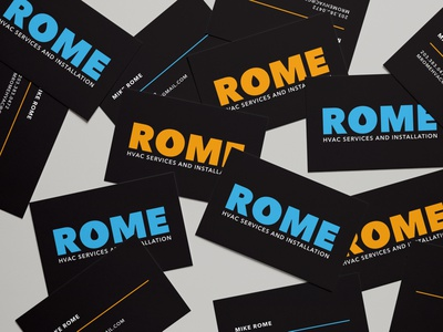 Rome Business Cards blue and orange hvac service air conditioning cooling heating hvac black branding logo graphic design brand identity business card