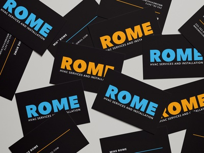 Rome HVAC services business cards air conditioning hvac cooling heating water drop drop drip black strong masculine logo masculine solid orange blue business cards brand identity logo branding graphic design