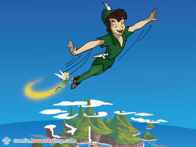Peter Pan Joke never never island flying fly tinker bell tinkerbell never land neverland peter pan peter