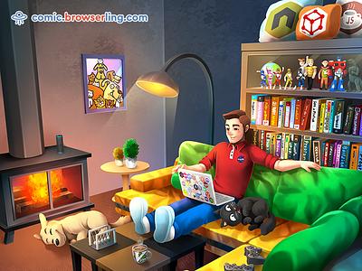 Sweet Setup setup action figures coffee vim books laptop alexa home cat dog