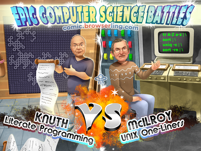Donald Knuth vs Douglas McIlroy computer science one-liners shell literate programming douglas mcilroy doug mcilroy mcilroy donald knuth don knuth knuth