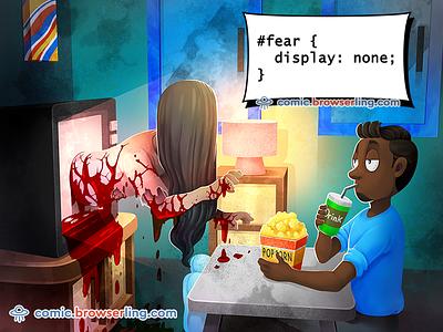 Horror Movie CSS Pun web development css joke css pun scary drink popcorn tv blood horror css fear