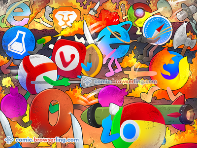 Browser Wars weapons flame thrower flamethrower bazooka browserling browser comic firefox chrome safari internet explorer ie yandex brave vivaldi beaker edge browser wars browser war browsers browser