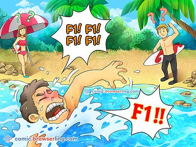 Help! joke browserling comic swimming swim beach help key f1 key key keyboard f1 coder programmer water drowning drown help