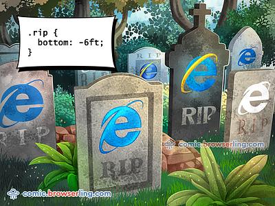 Graveyard CSS Pun pun joke browserling comic html dev humor devhumor rip explorer iexplorer iexplore internet explorer ie css jokes css puns css pun css joke css3 css2 css