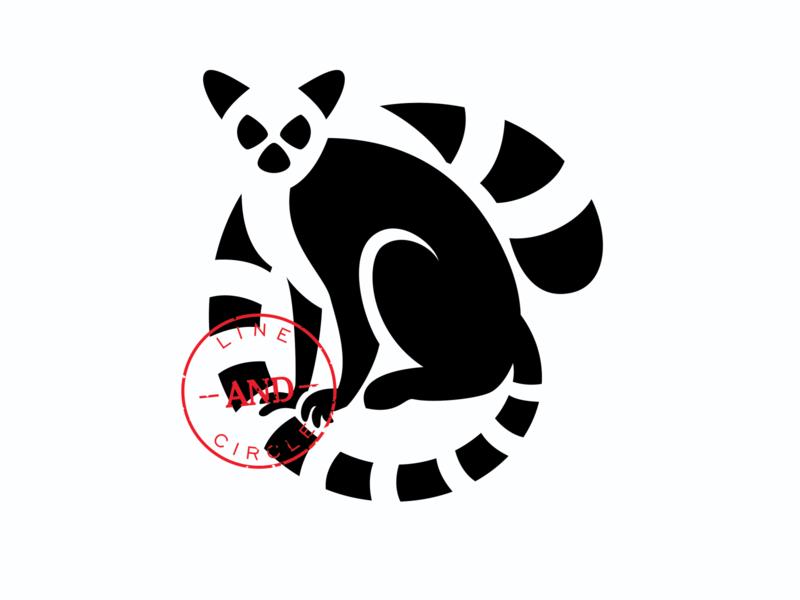Ring-tailed Lemur simple icon animals flat animal logo exotic animal lemur