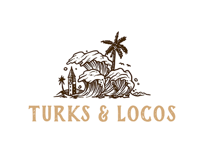 Turks and Locos hand draw sea traveling vacation coast beach wave