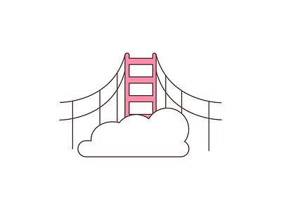 Instagram Highlight Cover #3 san francisco golden gate bridge pink illustration vector