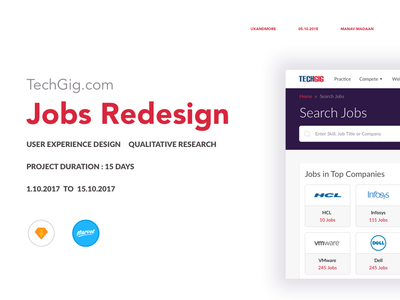 Jobs Redesign | TechGig.com section job search ux web dribbble design red research case study wireframing redesign ux design web design