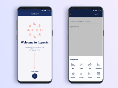 Reports | WIP | Mobile App (1/3) 2.0 material design line icons create report ui ux design visual app android mobile app clean blue